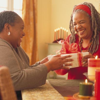 Women exchanging gifts