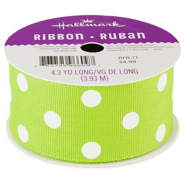 Chartreuse Polka Dot 1.5 inches Grosgrain Ribbon