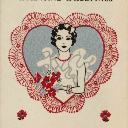 1933 Valentine's Day Card says Valentine Greetings