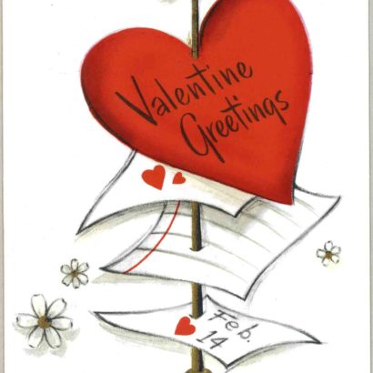 1956 Valentine's Day Card says valentine greetings