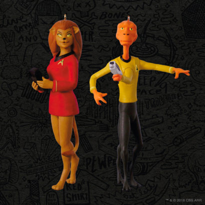 Star Trek The Animated Series Lieutenant Arex and Lieutenant M'Ress Keepsake Ornament two-pack