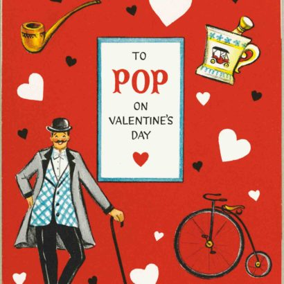 1956 Valentine's Day Card says To Pop on valentine's day