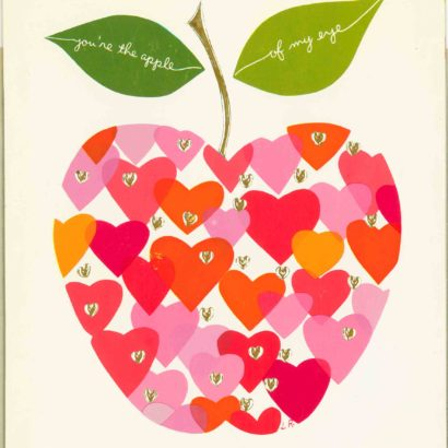 1963 Valentine's Day Card says you're the apple of my eye