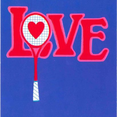 1970 Valentine's Day Card says Love with a picture of a tennis raquet