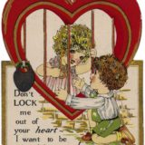 1928 Valentine's Day Card says Don't lock me out of your heart - I want to be your Valentine!