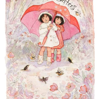 2008 Valentine's Day Card says Sisters and has two girls under one umbrella on it