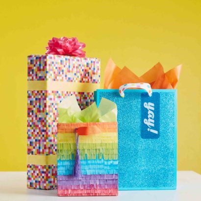 Hallmark Gift Wrap - Bright and Modern Collection Pinata Bag, Blue Sparkly Bag, Multi Color Pixel Gift Wrap