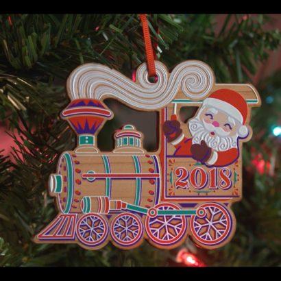 2018 Mayor's Christmas Tree Ornament Santa Riding a Train Hanging On a Tree