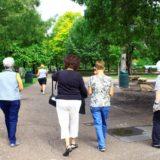 Walking at the zoo.