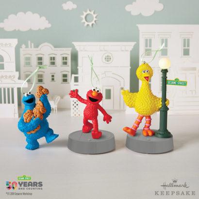 50th Anniversary Hallmark Sesame Street Ornaments with Cookie Monster, Elmo, and Big Bird