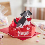 Dog With Heart Musical 3D Pop-Up Love Card With Motion